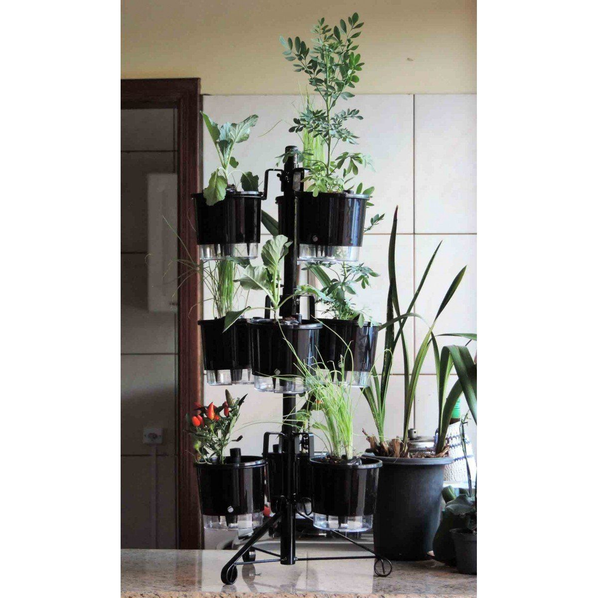 Suporte Preto para 9 Vasos Autoirrigáveis tamanho Pequeno N02 Raiz