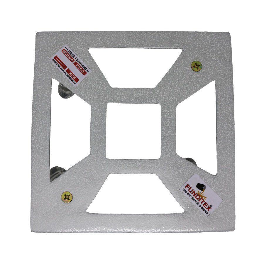 Suporte para Vaso em Alumínio Fundido com Rodízio Quadrado 35cm Branco
