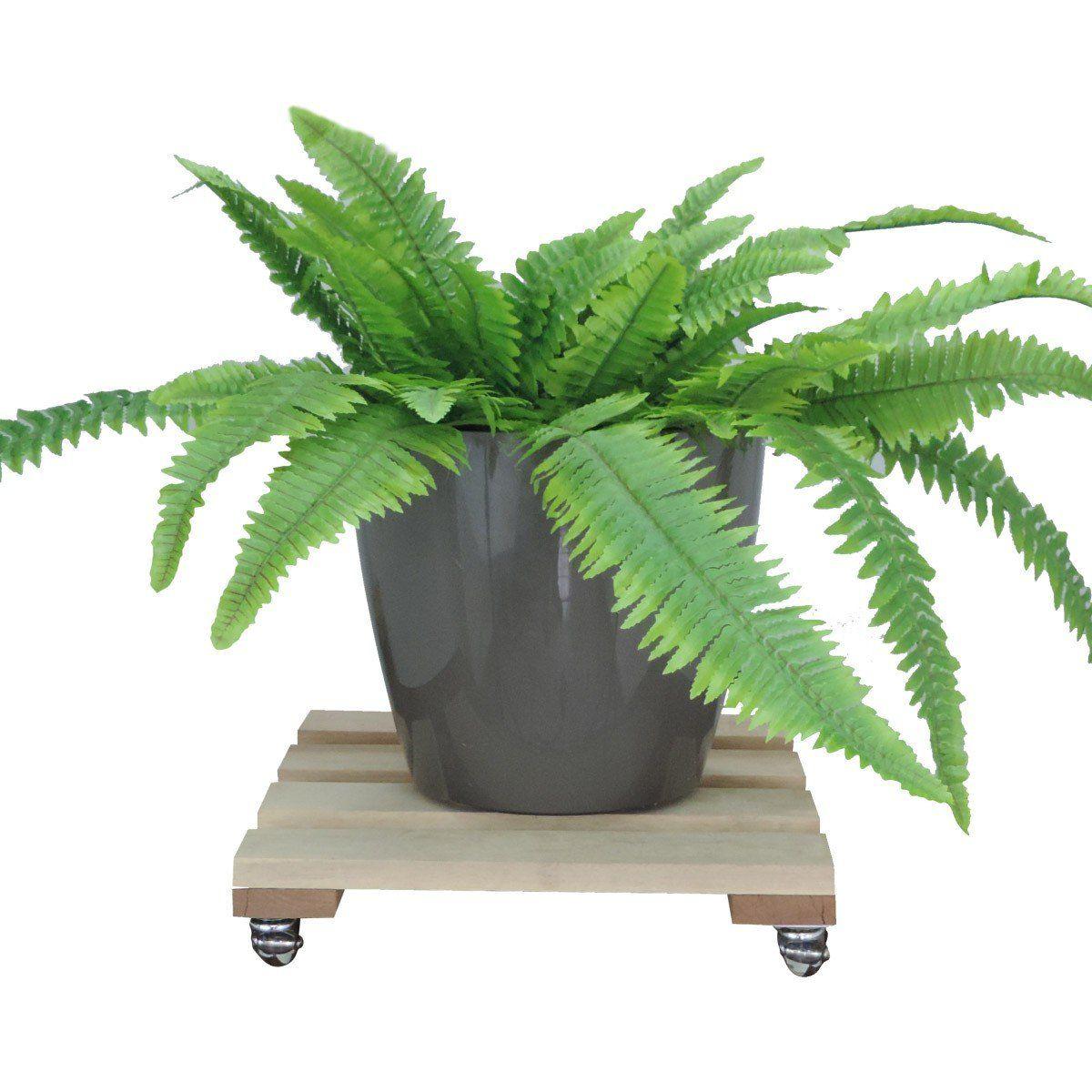 Suporte para Vasos de Plantas Cedrilho com rodízios anti risco Quadrado 30cm suporta até 160kg