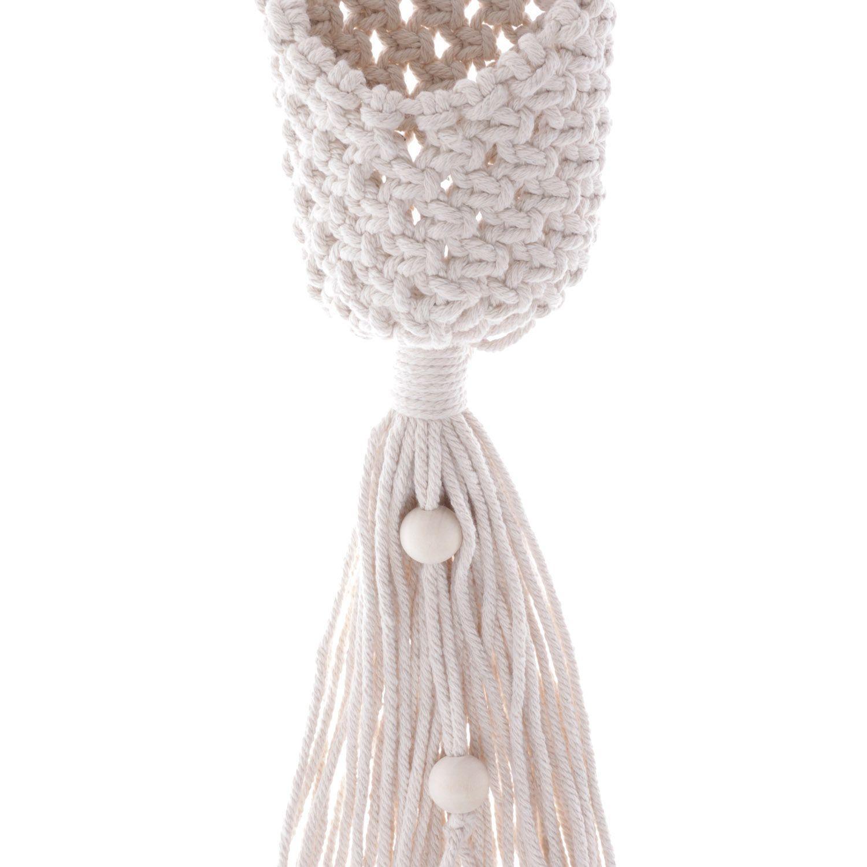 Suporte Porta Vasos de Algodão em Macramê Knots Bege 46cm - 43849