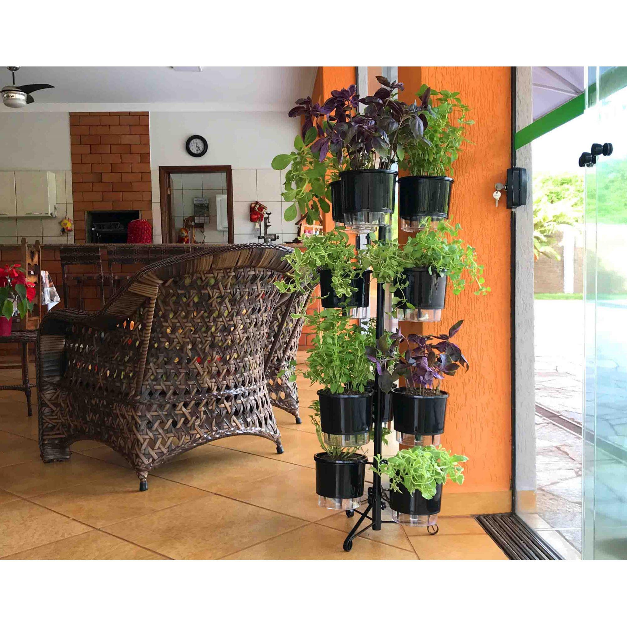 Suporte Preto 2.0 para 10 Vasos Autoirrigáveis Tamanho Médio N03 Raiz (Não acompanha vasos e plantas)