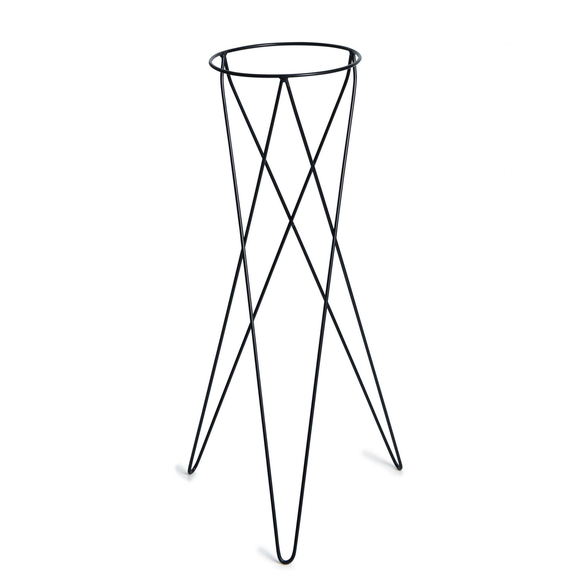 Suporte Tripé Metálico Preto 80cm para Vaso Autoirrigável Grande N04 Raiz