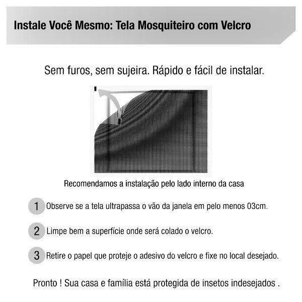 Tela Mosquiteiro em polyester 0,60 m x 0,60 m Cinza com fechos de contato marca VELCRO®