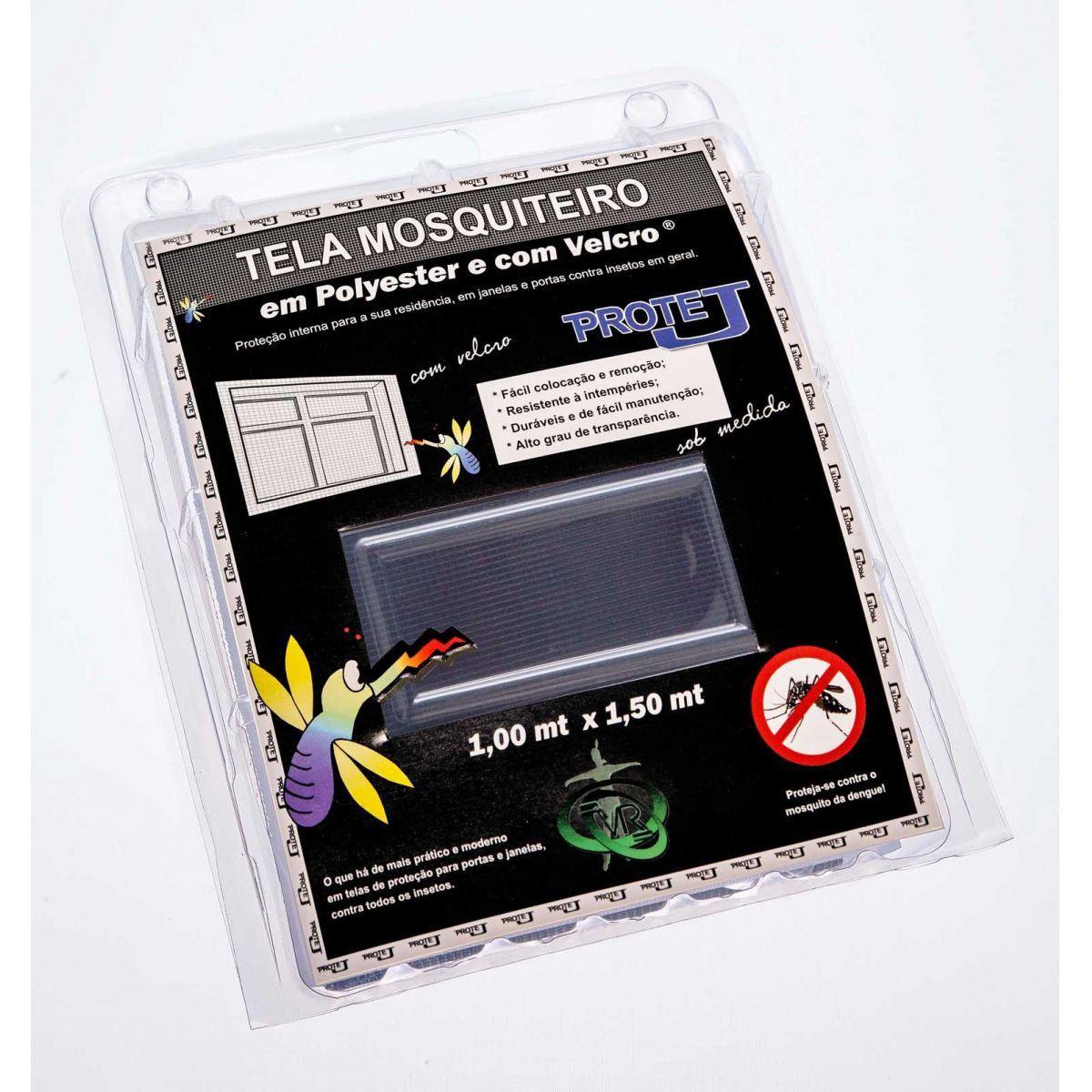 Tela Mosquiteiro em polyester 1,00 x 1,50 Cinza com fechos de contato marca VELCRO®