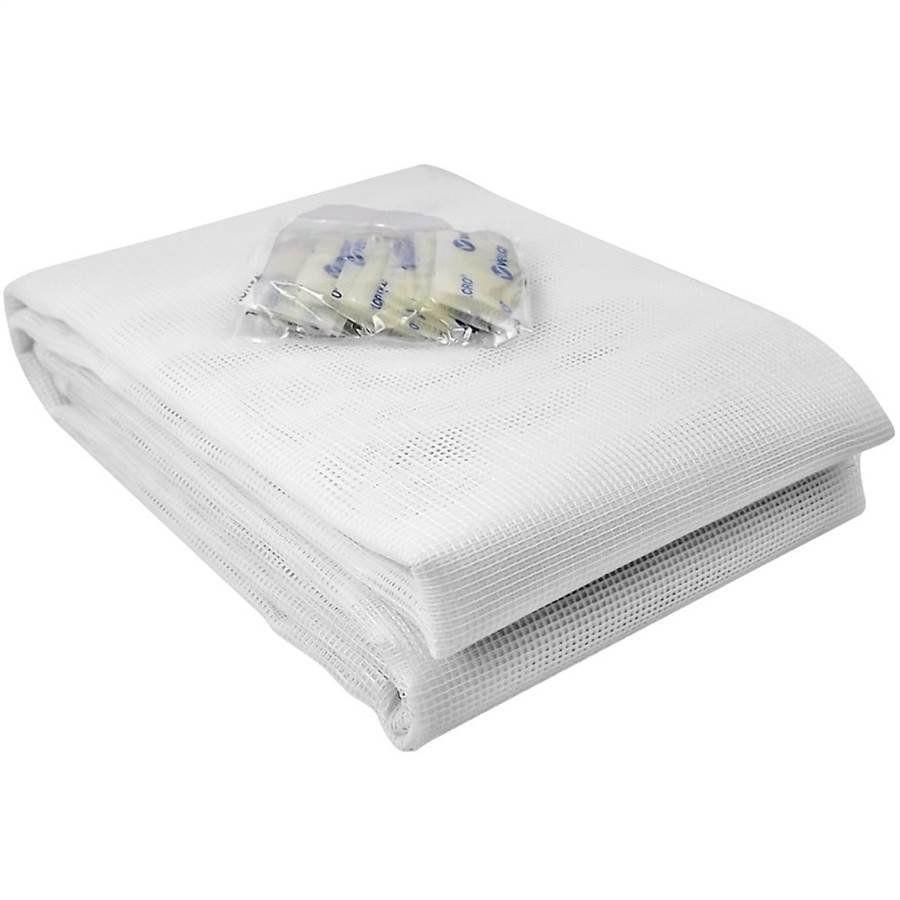 Tela Mosquiteiro em polyester 1,25 x 1,25 Branco com fechos de contato marca VELCRO®