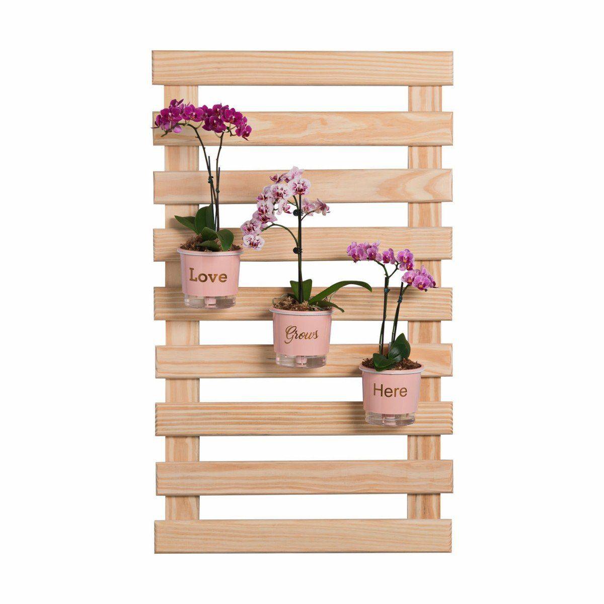 Treliça de madeira 100cm x 60cm para jardim vertical