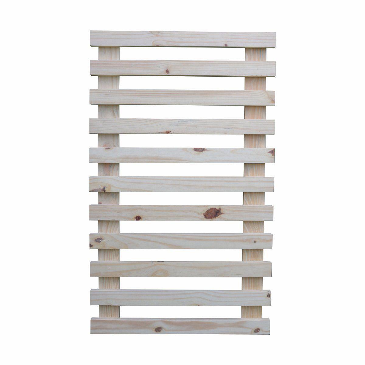 Treliça de madeira 100cm x 60cm para jardim vertical sem cantos arredondados