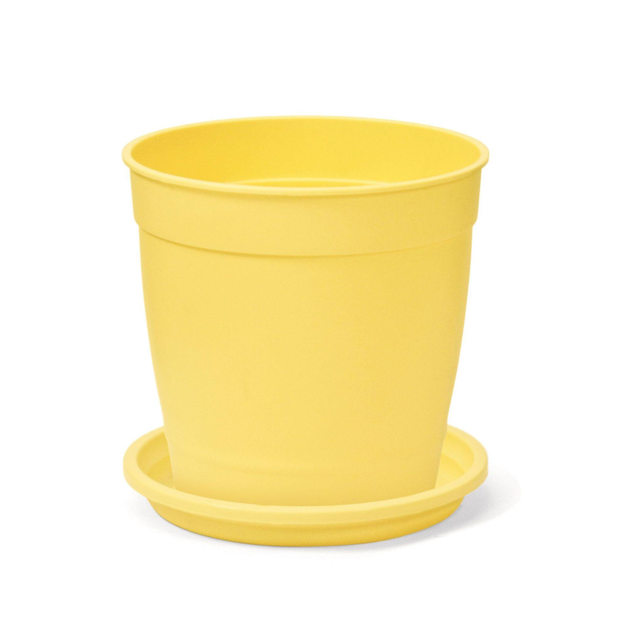 Kit Vaso Aquarela Amarelo Claro 12cm x 12cm com Prato