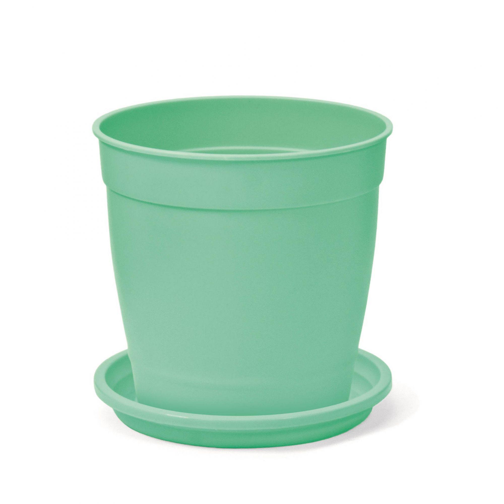 Vaso Aquarela Verde Claro 12cm x 12cm com Prato