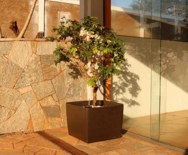 Vaso Autoirrigável Acqua Planta Quadrado Branco 35cm x 49cm