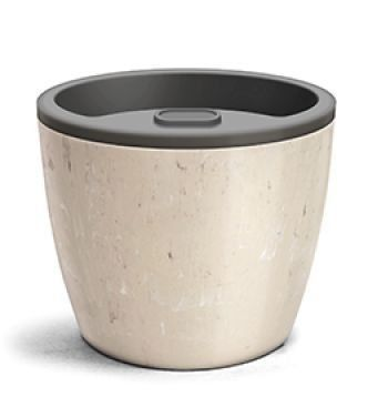 Vaso Autoirrigável Elegance 03 Travertino 12,5cm x 15cm