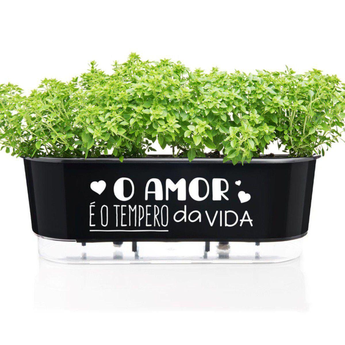 Vaso Autoirrigável Jardineira O Amor é o Tempero da Vida Preto 40cm Raiz