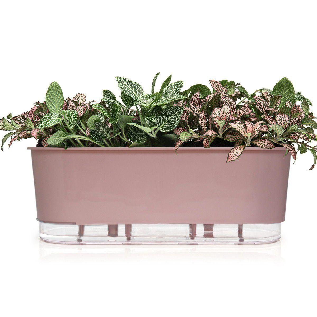 Vaso Autoirrigável Jardineira Rosa Quartzo 40cm Raiz