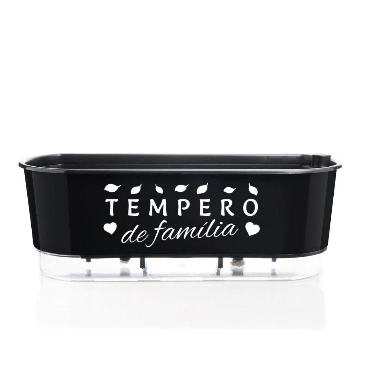 Vaso Autoirrigável Jardineira Tempero de Família Preto 40cm Raiz