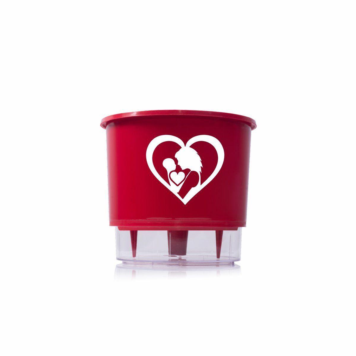 Vaso Autoirrigável Médio N03 Vermelho Amor de Mãe 16cm x 14cm