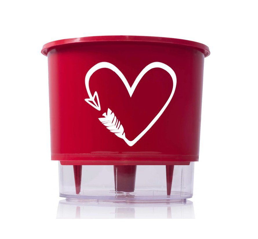 Vaso Autoirrigável Médio N03 Vermelho Cupido 16cm x 14cm