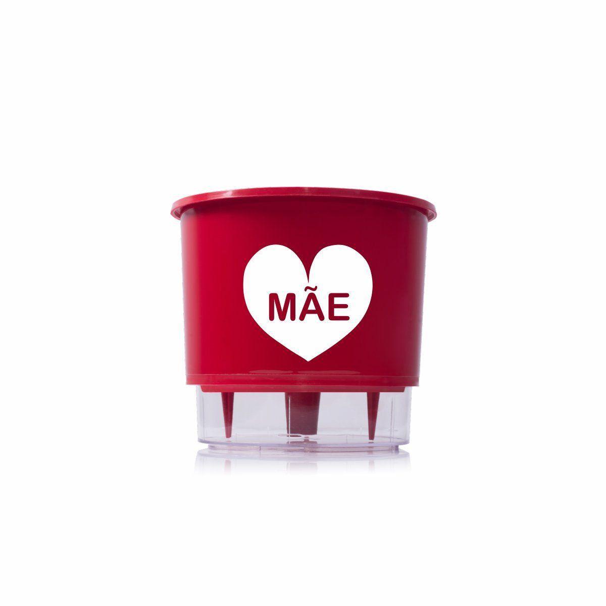 Vaso Autoirrigável Médio N03 Vermelho Mãe 16cm x 14cm