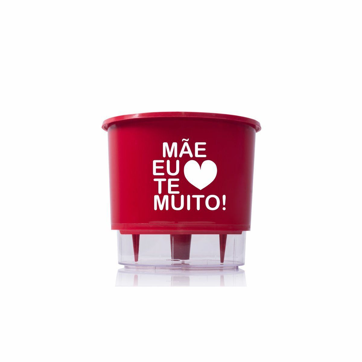 Vaso Autoirrigável Médio N03 Vermelho Mãe Eu Te Amo 16cm x 14cm
