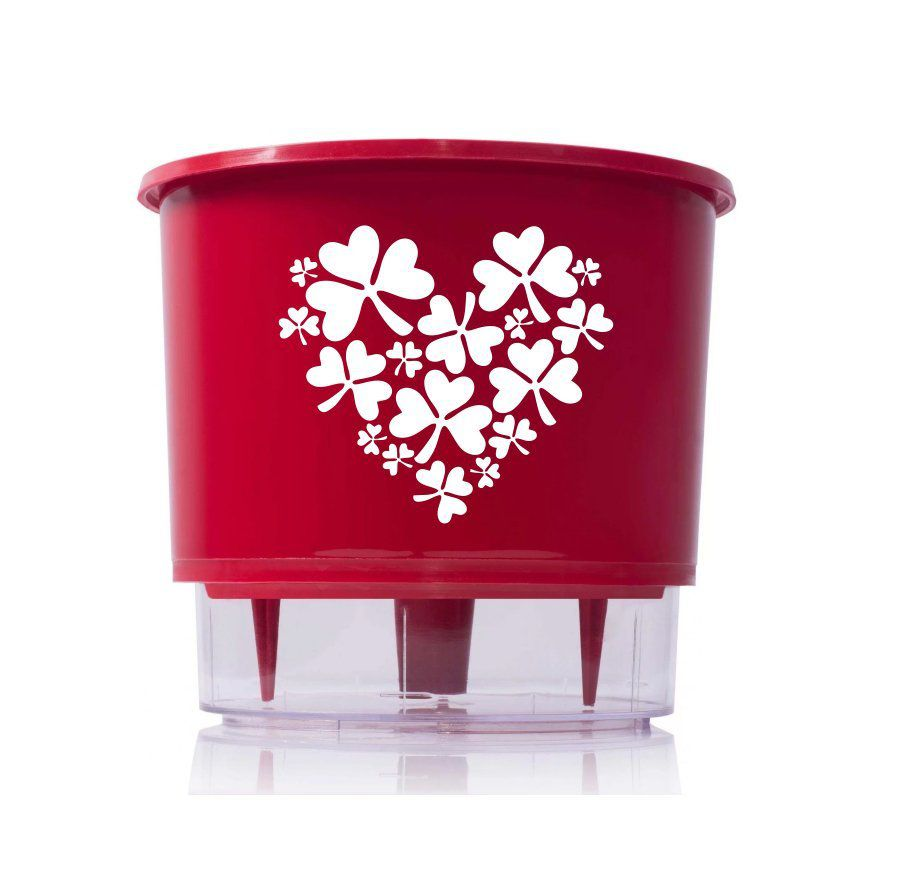 Vaso Autoirrigável Médio N03 Vermelho Sorte no Amor 16cm x 14cm