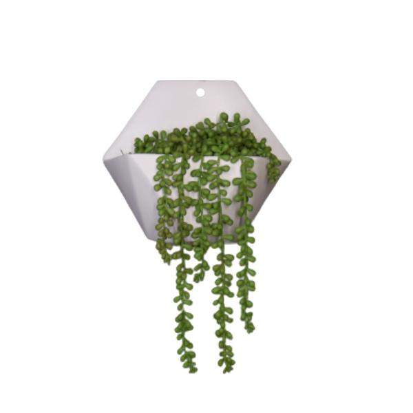 Vaso Cerâmico de Parede Hexagonal Branco 19,5cm x 22,5cm - 6119