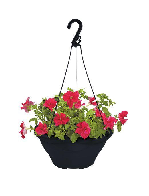 Vaso com alça para pendurar 12cm x 21,5cm preto