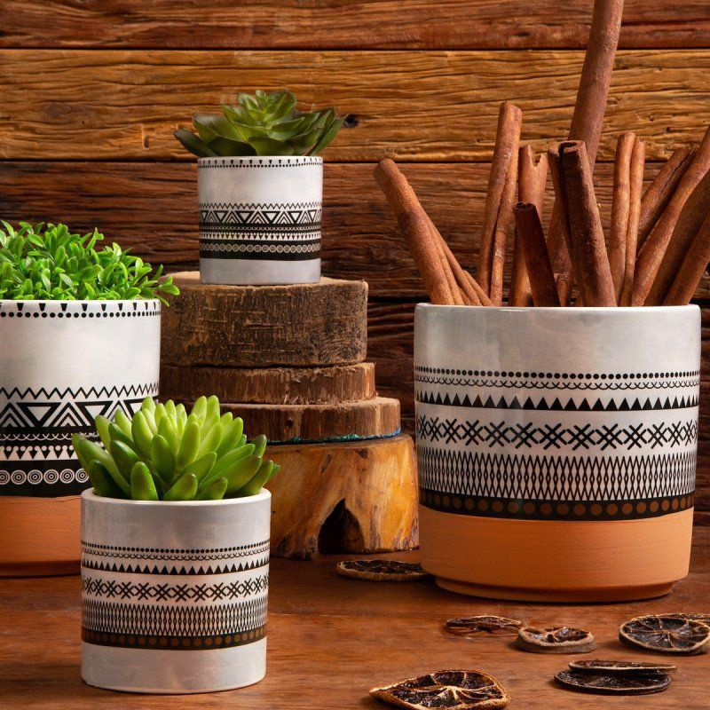 Vaso de Cerâmica Asteca Cinza com Preto 7cm x 7cm - 42291