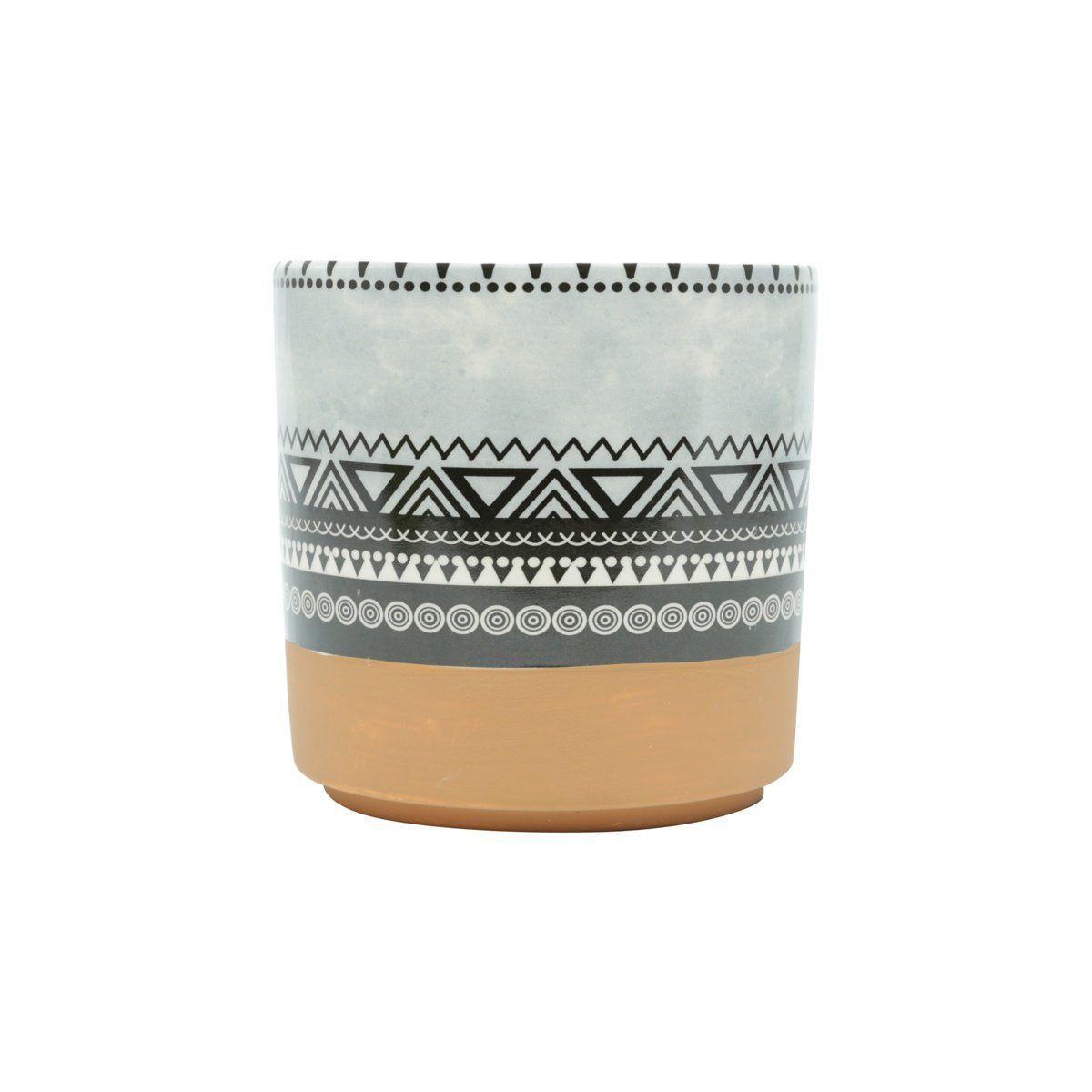 Vaso de Cerâmica Asteca Triângulos Colorido 14cm x 14cm - 42060