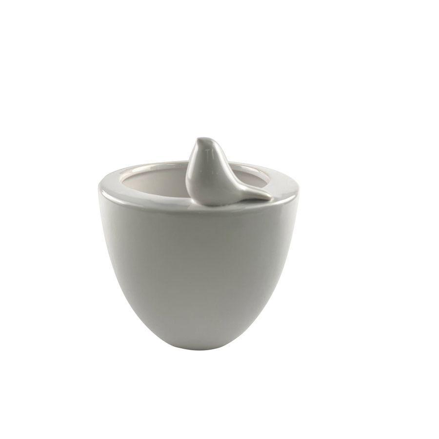 Vaso de Cerâmica Bird Branco 9cm x 8cm - 42514