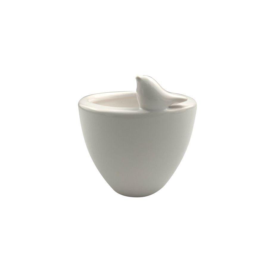 Vaso de Cerâmica Bird Branco Grande 14cm x 12cm - 42515