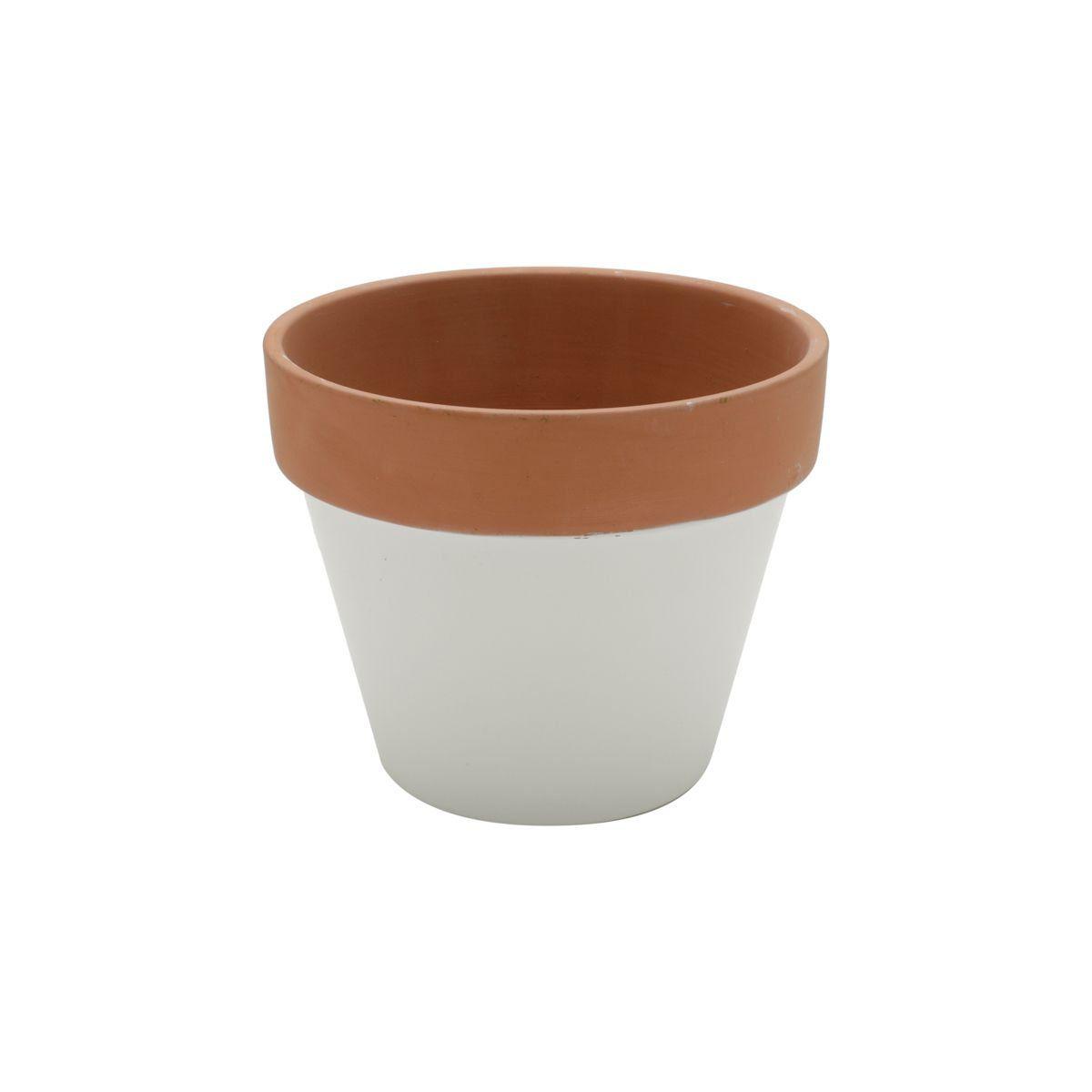 Vaso de Cerâmica Branco com Borda Terracota Grande 12,5cm x 15cm - 42858