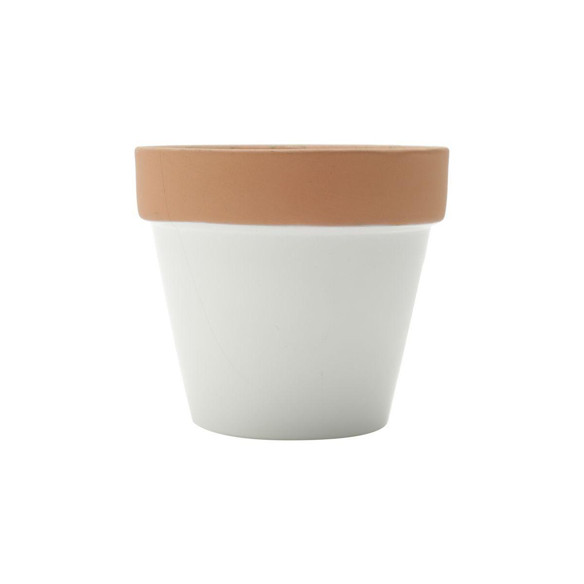 Vaso de Cerâmica Branco com Borda Terracota Pequeno 7,5cm x 8,5cm - 42861