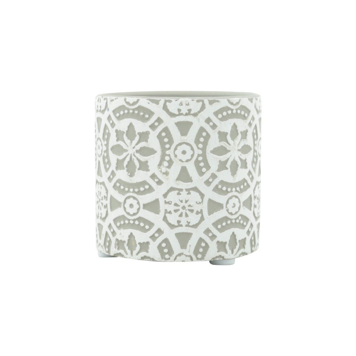 Vaso de Cerâmica Flores em Relevo Cinza 6,5cm x 7cm - 42134