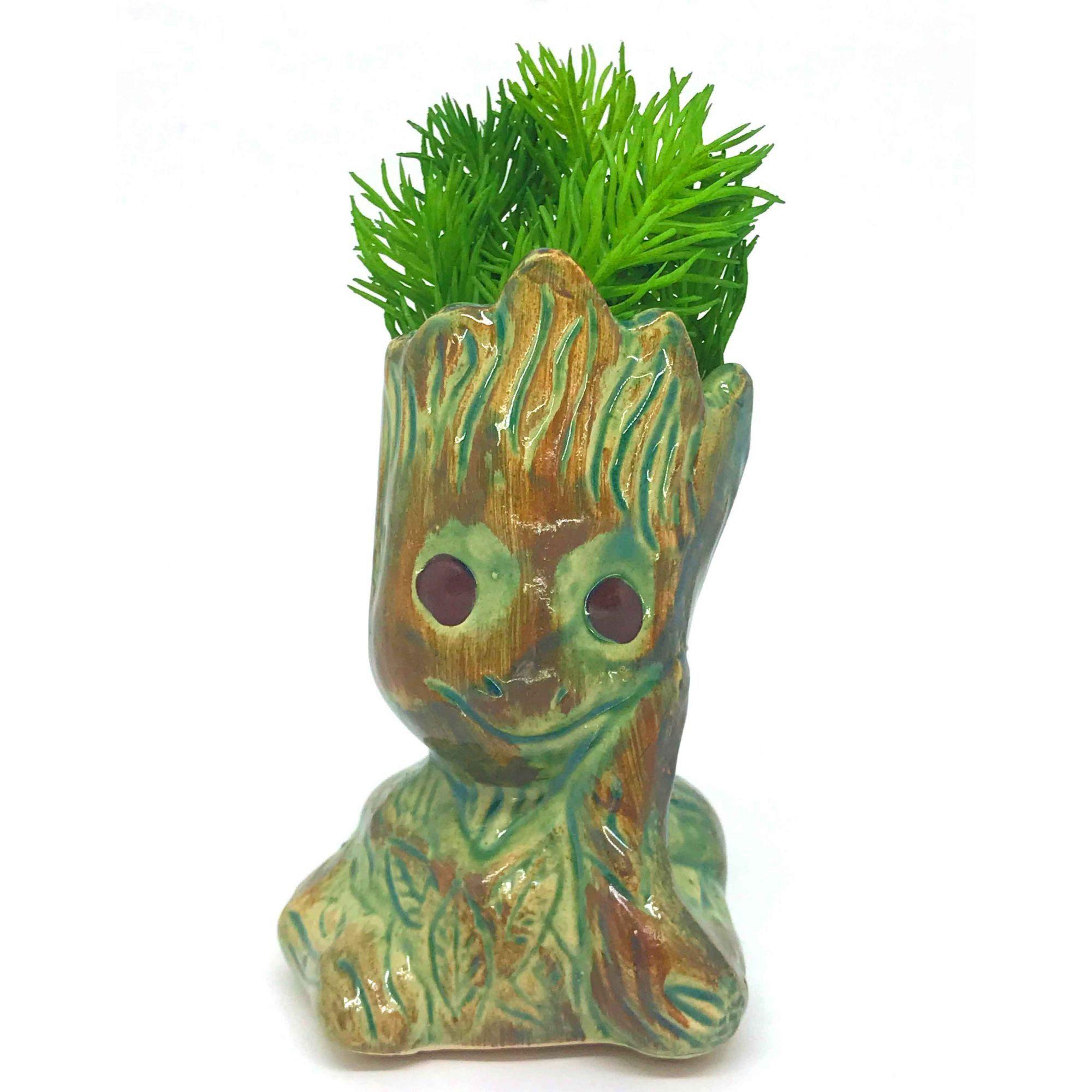 Vaso de Cerâmica Groot Verde e Marrom 12cm x 5,5cm