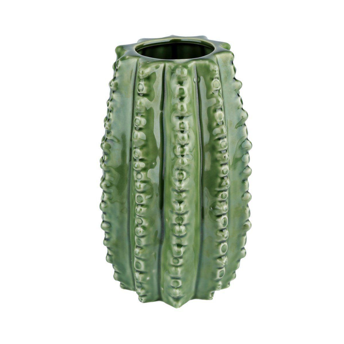 Vaso de Cerâmica Hedge Cactus Verde 20,5cm x 12,5cm - 40397