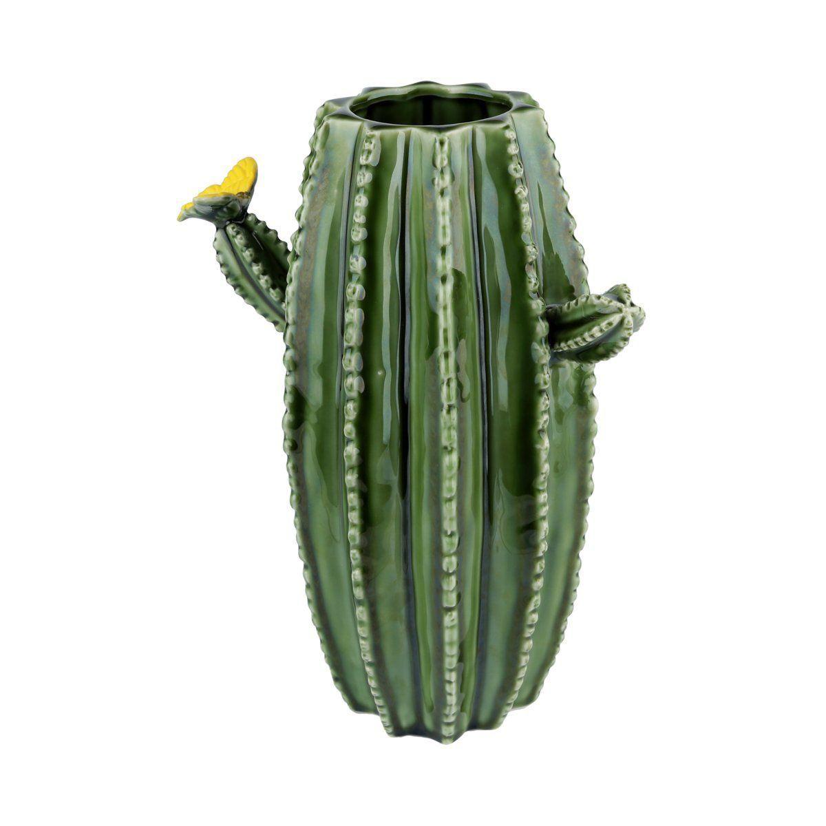 Vaso de Cerâmica Hedge Cactus Verde 25cm x 20cm - 40396