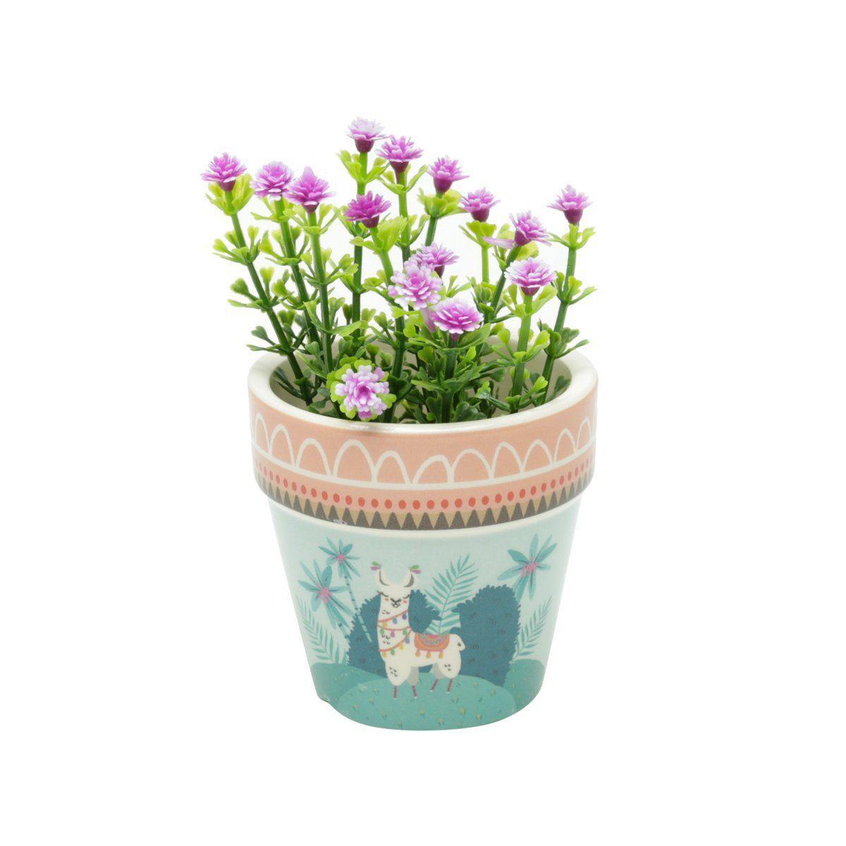 Vaso de Cerâmica Lhama Mexicano Colorido 7cm x 7cm - 42066