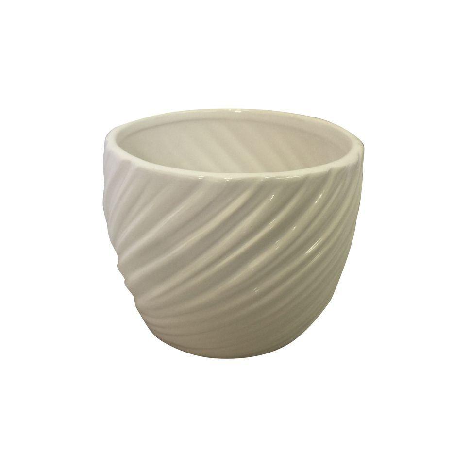 Vaso de Cerâmica Ondas em Relevo Branco 10cm x 12cm - 42523