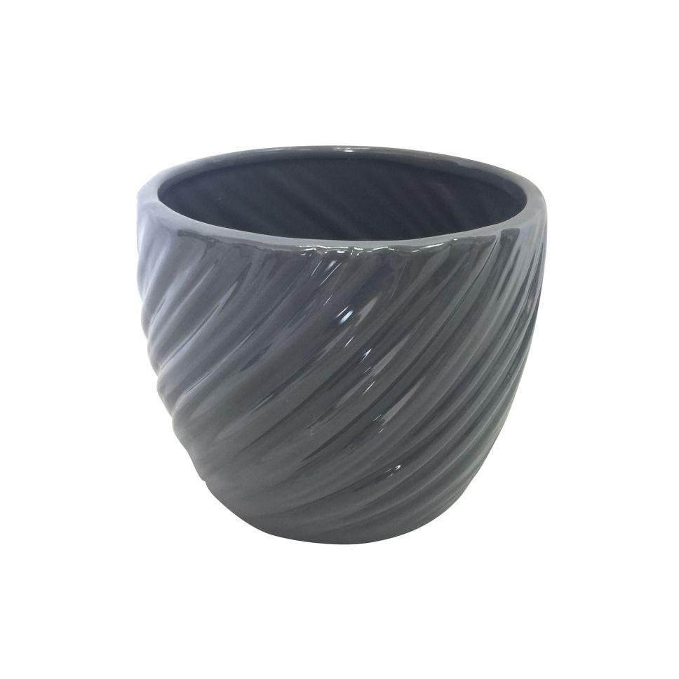 Vaso de Cerâmica Ondas em Relevo Cinza 10cm x 12cm - 42524