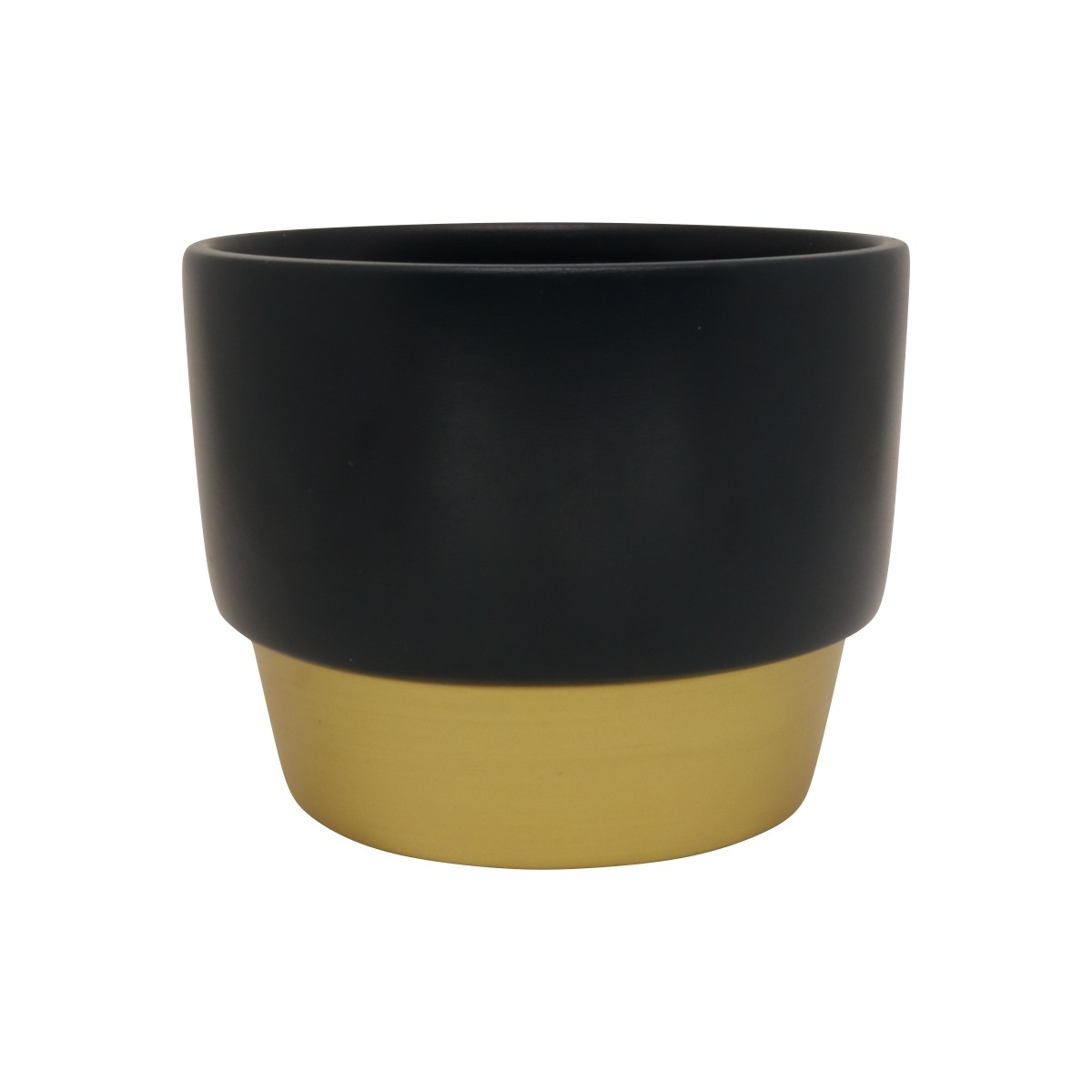 Vaso de Cerâmica para Suculentas Azul Escuro e Dourado 10cm x 12,5cm - 5741