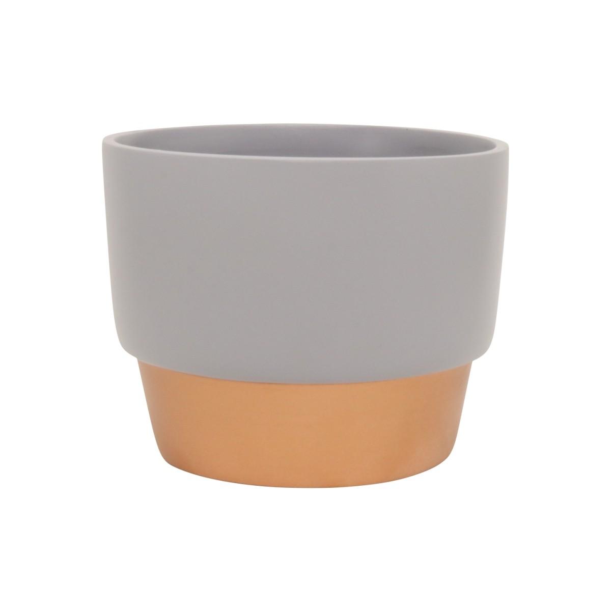 Vaso de Cerâmica para Suculentas Cinza e Bronze 10cm x 12,5cm - 5760
