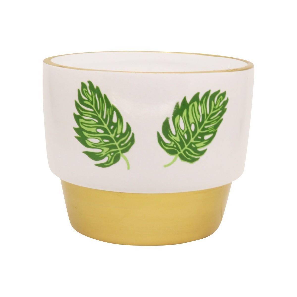 Vaso de Cerâmica para Suculentas Costela de Adão Branco e Dourado 10cm x 12cm - 5770