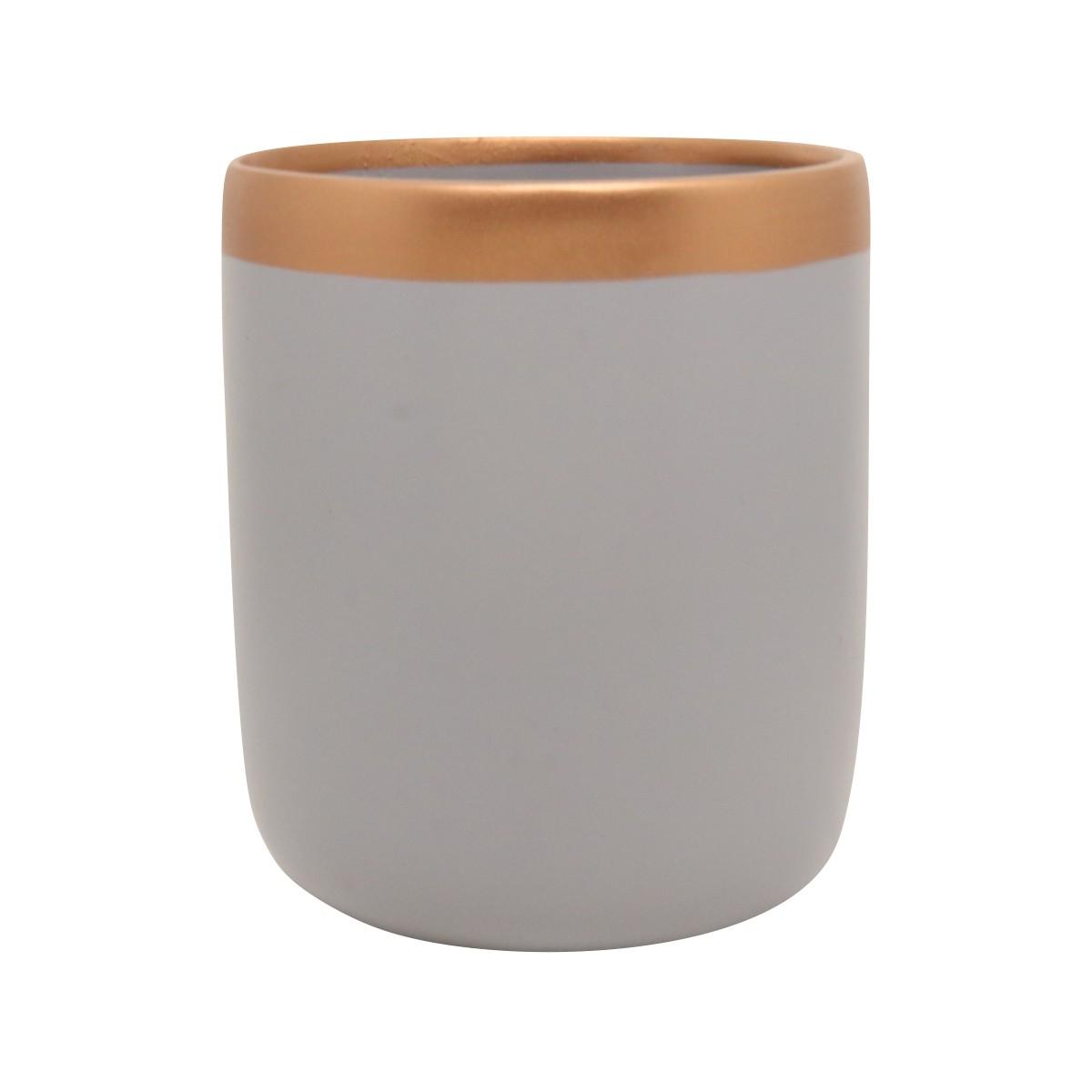 Vaso de Cerâmica para Suculentas Novel Grande Cinza e Bronze 14cm x 12cm - 5762
