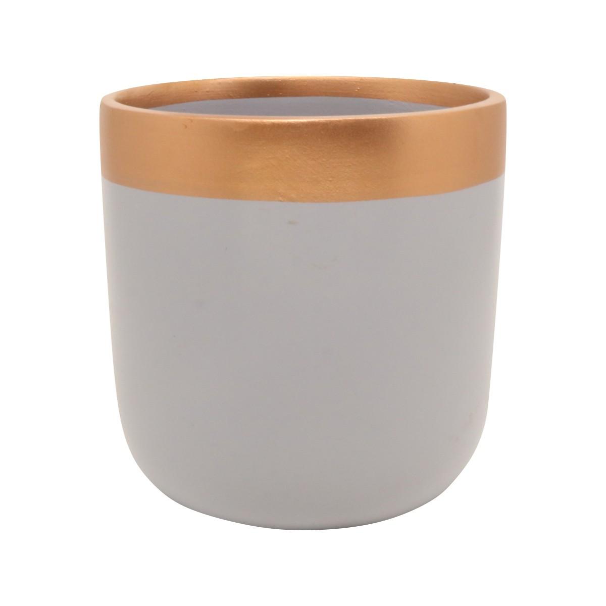Vaso de Cerâmica para Suculentas Novel Médio Cinza e Bronze 10,5cm x 10cm - 5764