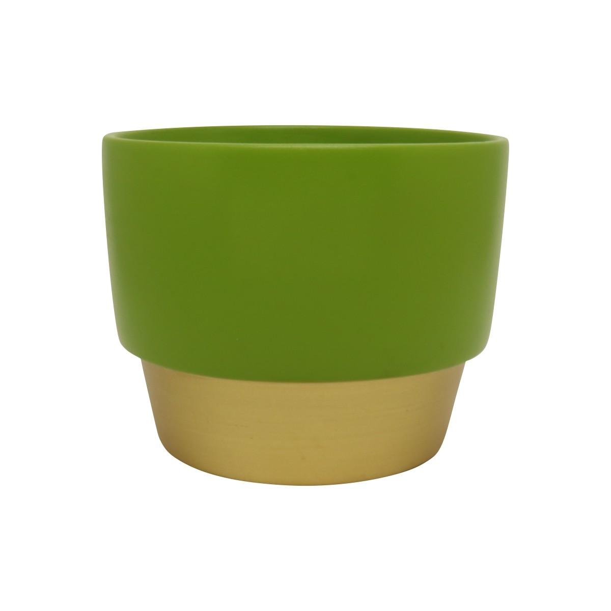 Vaso de Cerâmica para Suculentas Verde e Dourado 10cm x 12,5cm - 5753