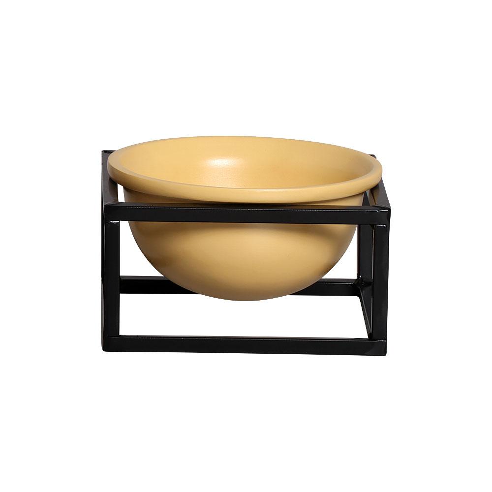 Vaso de Cerâmica Pequeno Amarelo com Suporte de Ferro Preto 11cm x 18cm - 6070