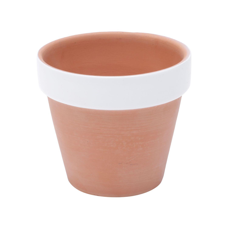 Vaso de Cerâmica Redondo cor Terracota com Borda Branca 7,5cm x 8cm - 43087