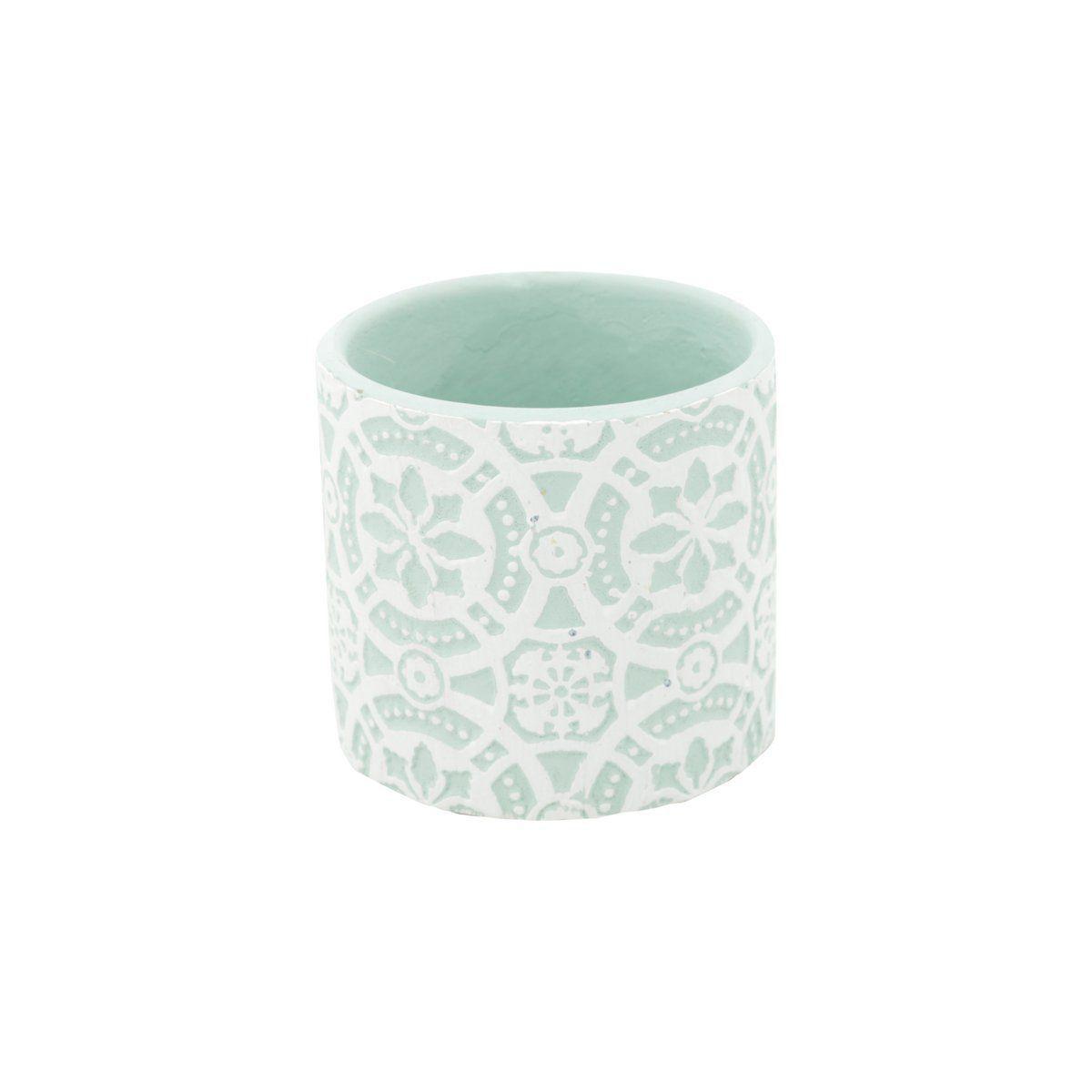 Vaso de Cerâmica Royal Flores Verde com Branco 6,5cm x 7cm - 42132