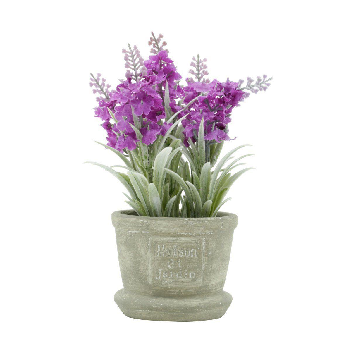 Vaso de Concreto com Lavanda Artificial Roxo 17,5cm x 8cm - 42038