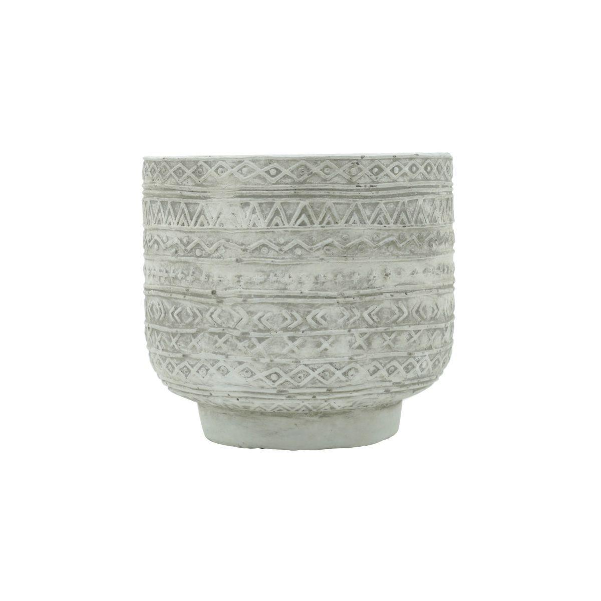 Vaso de Concreto Linhas e Formas com Pé Branco 10cm x 11cm - 42130