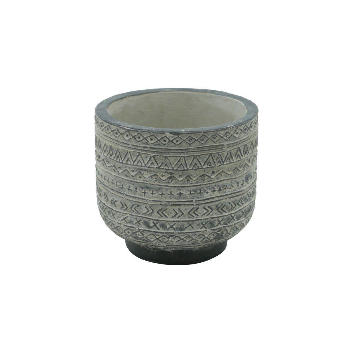 Vaso de Concreto Linhas e Formas com Pé Cinza 10cm x 11cm - 42129